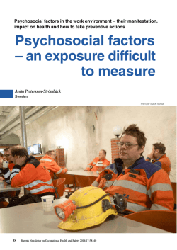 Psychosocial factors – an exposure difficult to measure