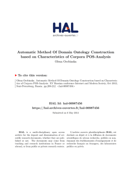 Automatic Method Of Domain Ontology Construction - Hal-SHS