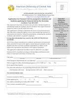Application for Financial Aid for prospective students and students