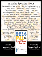 2014 Food Show Flyer 1105 - ACF Colorado Chefs Association