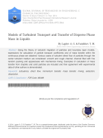 Models of Turbulent Transport and Transfer of