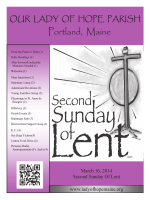 Our Lady of Hope Parish Weekly Bulletin for March 15th, 2014 and