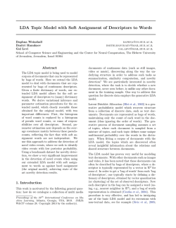 LDA Topic Model with Soft Assignment of Descriptors to Words
