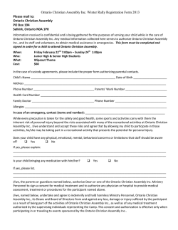 Ontario Christian Assembly Inc. Winter Rally Registration Form 2013