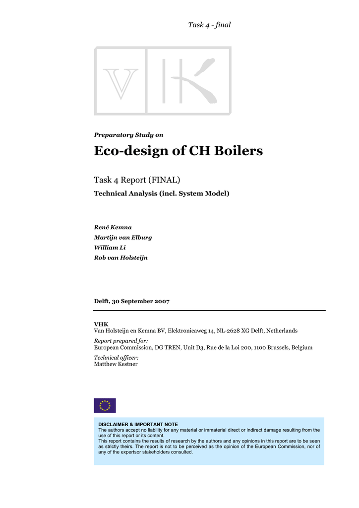 Eco-design of CH Boilers