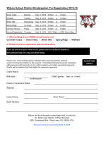 Wilson School District Kindergarten Pre-Registration 2015-16