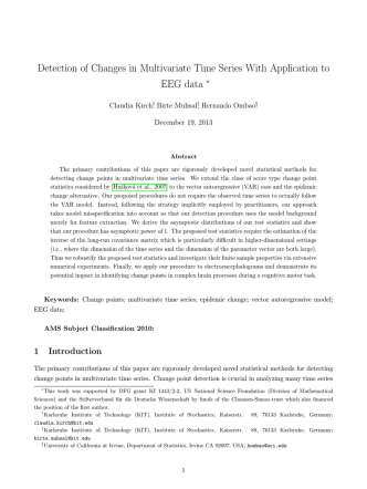 ...of Changes in Multivariate Time Series With Application to