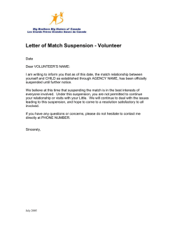 Sample Letter of Match Suspension to Volunteer